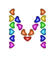 Letter M made of multicolored hearts vector image