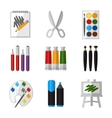 tool set for artist in flat design style vector image