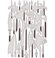 Set of medieval weaponry Spears halberds and peak vector image