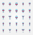 wine glass colorful icons vector image