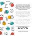 aviation poster concept with outline icons vector image