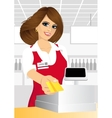 cashier giving a credit card in the supermarket vector image