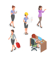 Isometric set of businesswoman vector image