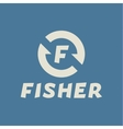 Logo abstract hook letter F fisher flat trend vector image