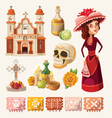 Set of items for day of the dead vector image