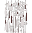 Set of medieval weaponry Spears halberds and peak vector image