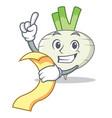 with menu turnip mascot cartoon style vector image