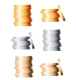 Bronze silver and gold stacks of coins vector image vector image