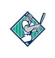 Baseball Hitter Batting Diamond Retro vector image vector image