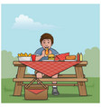 boy at a picnic table vector image