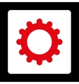 Gear flat red and white colors rounded button vector image