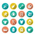 Set flat icons of newborn baby vector image