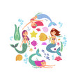 cartoon swimming mermaids and sea underwater vector image