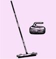 Curling broom stone vector image