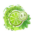 Slice of lime with leafs and a smiley face vector image vector image