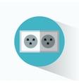 electric power plug blue circle shadow vector image