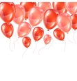 Background with pink and red glossy balloons vector image