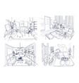 modern living room interior set furnished drawing vector image