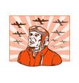 World War Two Pilot Airman Retro vector image vector image