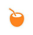 icon sticker realistic design on paper coconut vector image