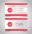 Business card set template Red and silver grey vector image