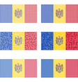 Mosaic Moldova flag set vector image