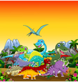 funny dinosaur cartoon with forest landscape backg vector image