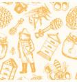 bee garden - hand drawn seamless pattern vector image
