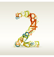 number two made from colorful numbers vector image