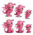 pink cute dragon of different ages vector image