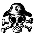 pirate symbol with skull wearing hat vector image