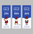 set of christmas sale banners cute santa claus vector image