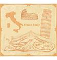 Symbols of Italy vintage card vector image