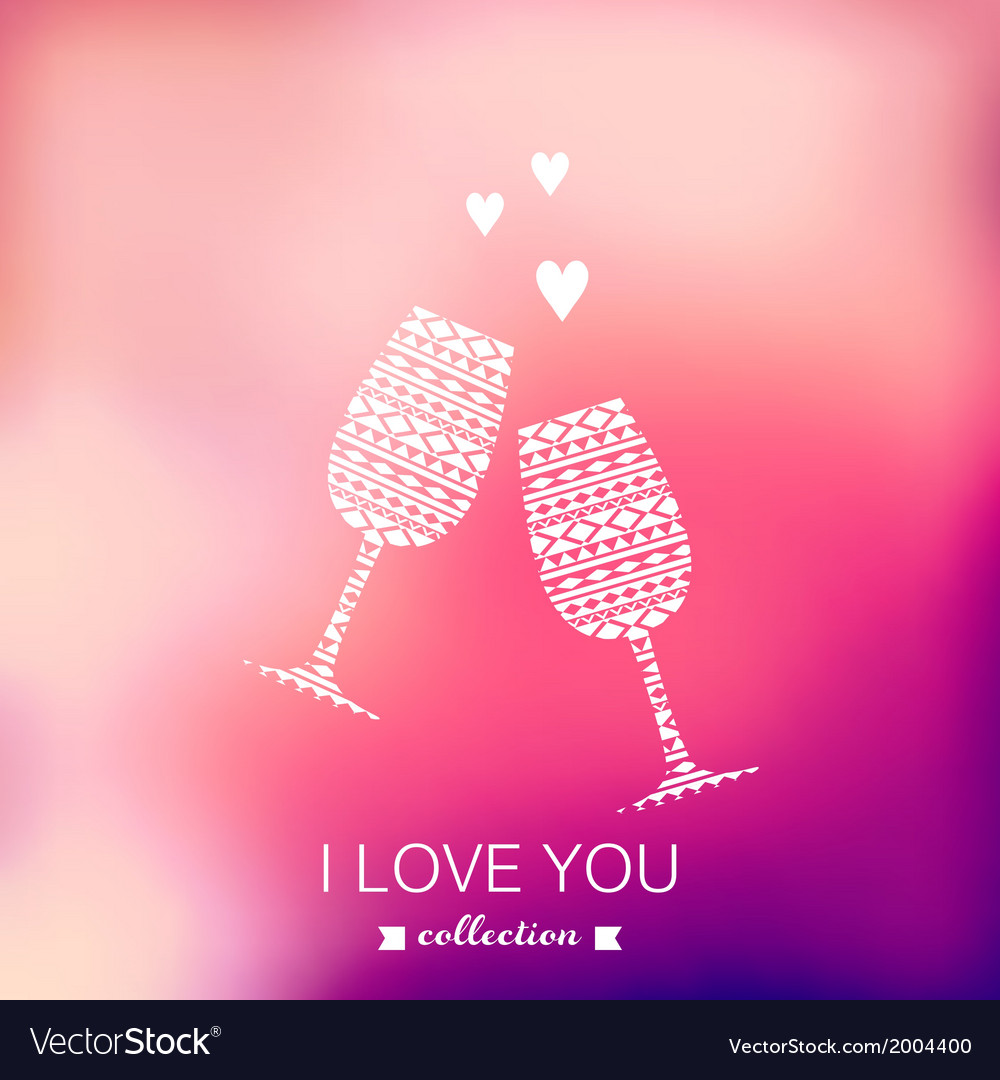 Champagne silhouette valentines day background vector