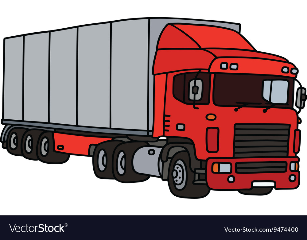 Red semitrailer truck vector