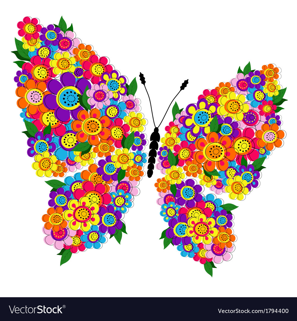 Spring bright floral butterfly vector
