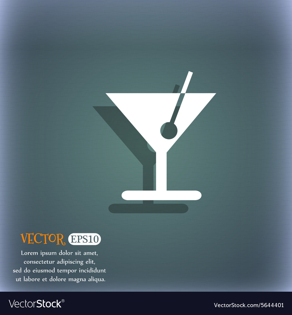 Cocktail icon symbol on the bluegreen abstract vector