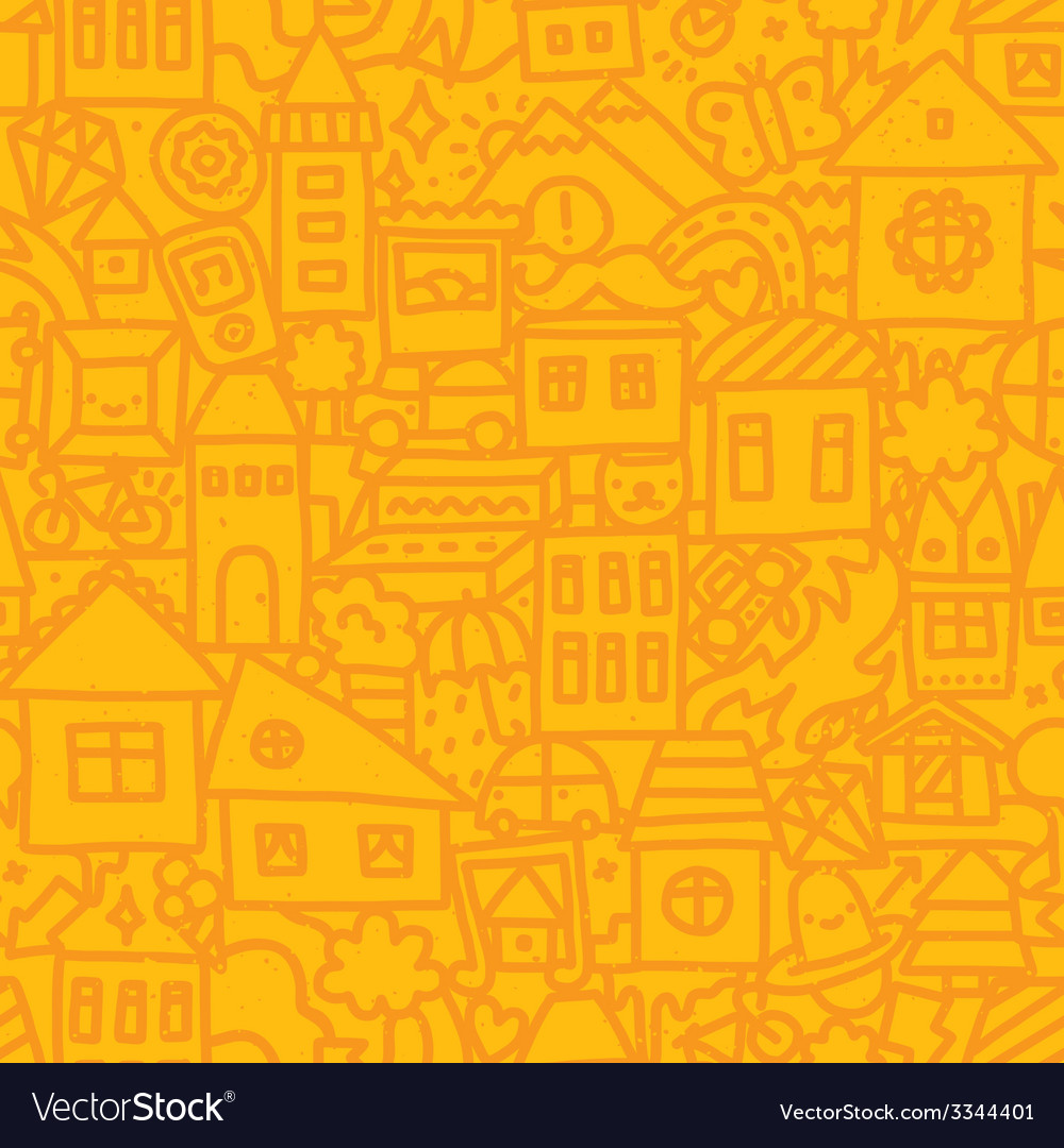 Seamless doodle city pattern vector