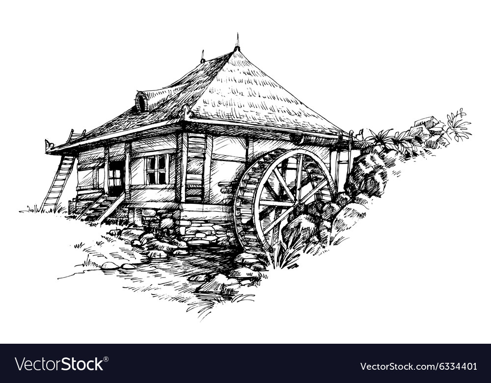 Watermill hand drawn artistic vector
