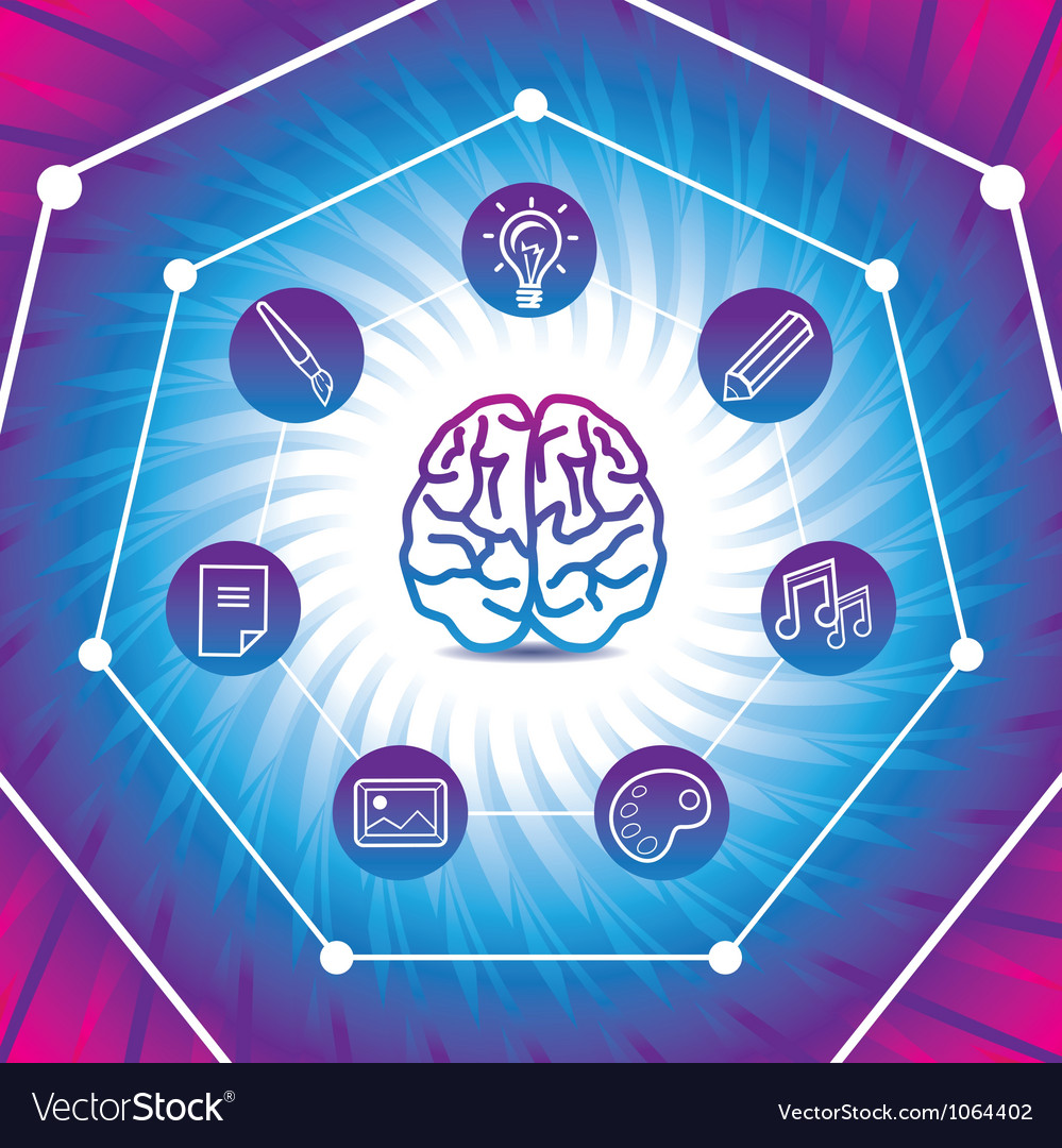 Creativiy concept  brain icon on blue back vector