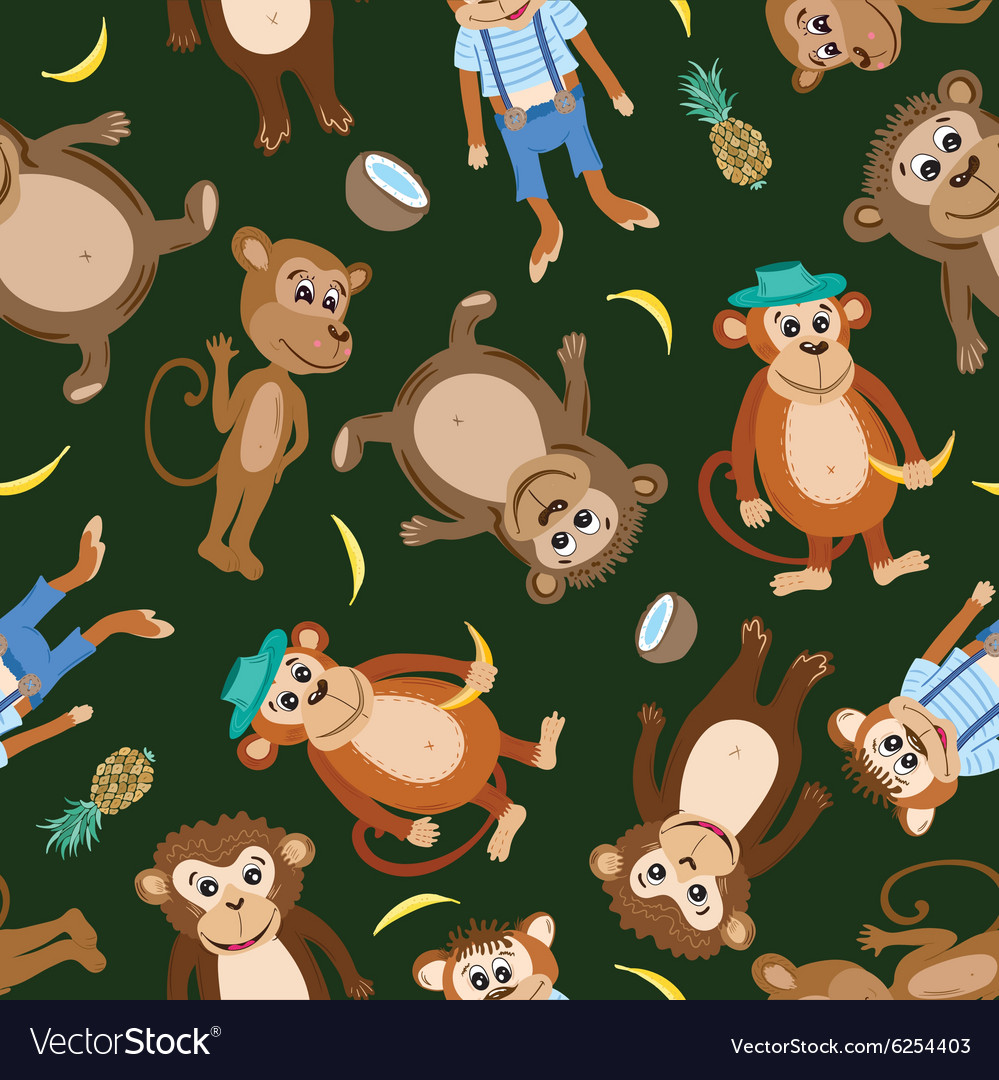 Smiling monkey texture vector