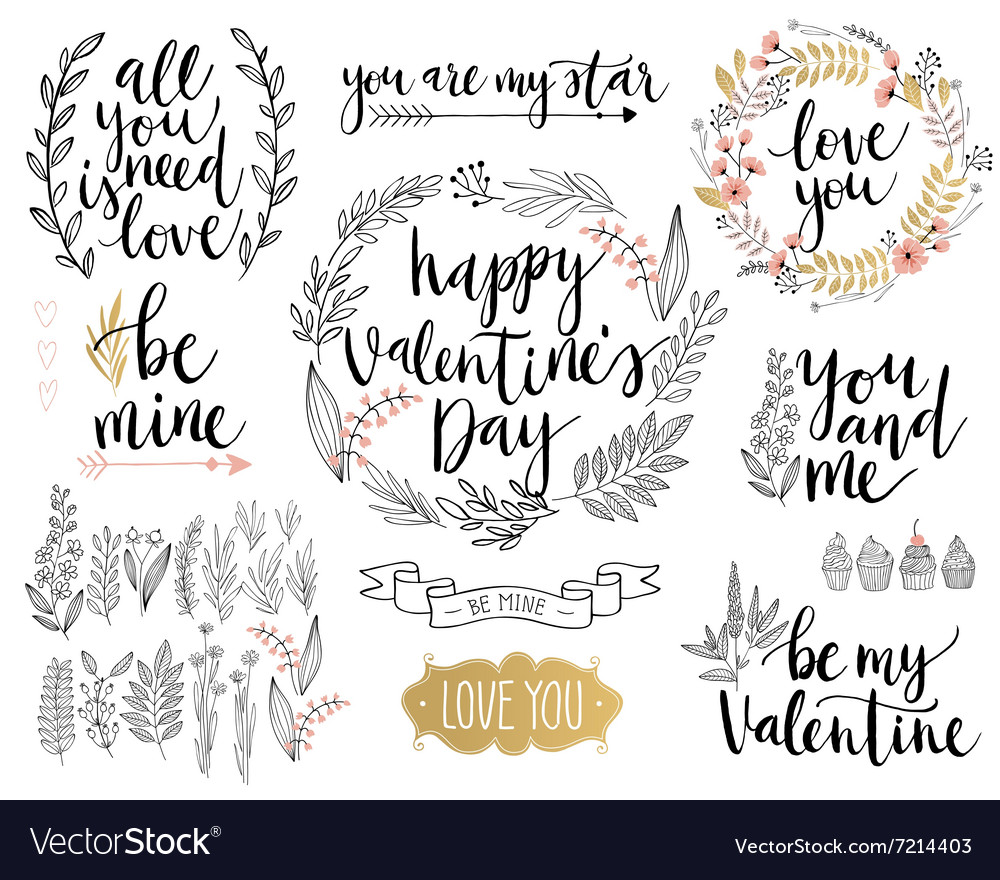 Valentines day lettering design set vector
