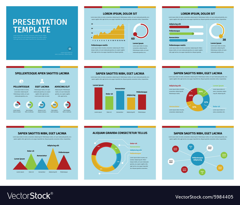 Colorful graphs and presentation graphics on blue vector