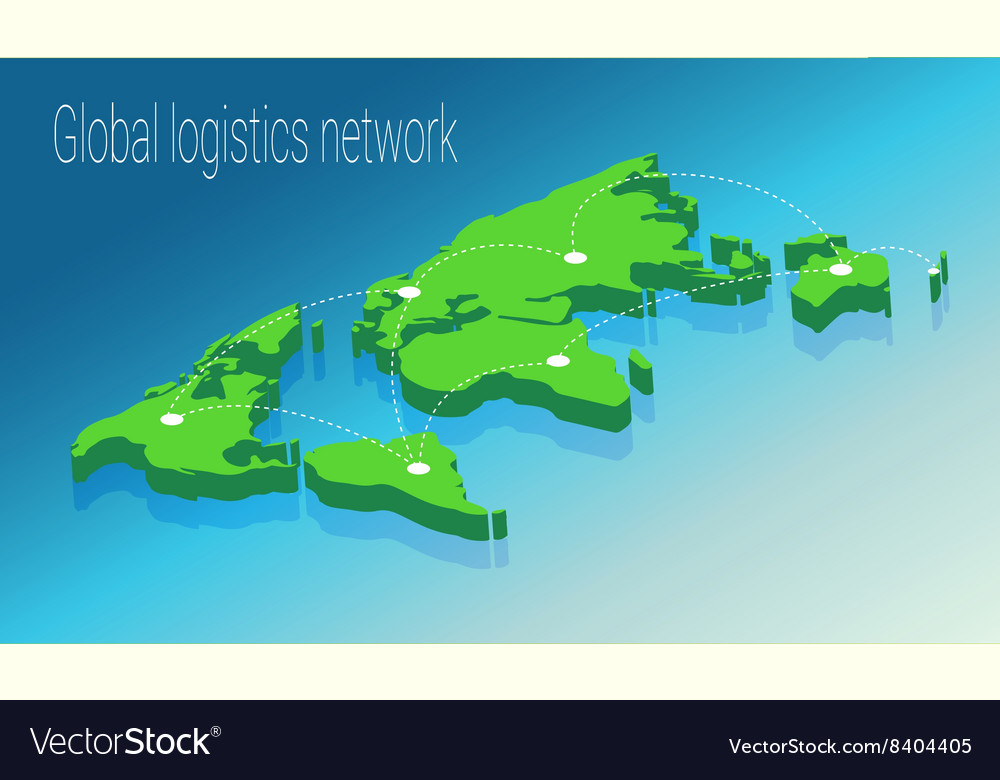 Map world isometric concept 3d flat vector