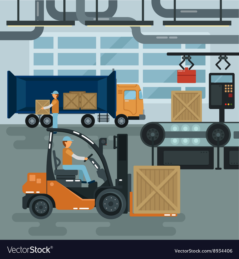 Forklift inside factory cargo industry heavy vector
