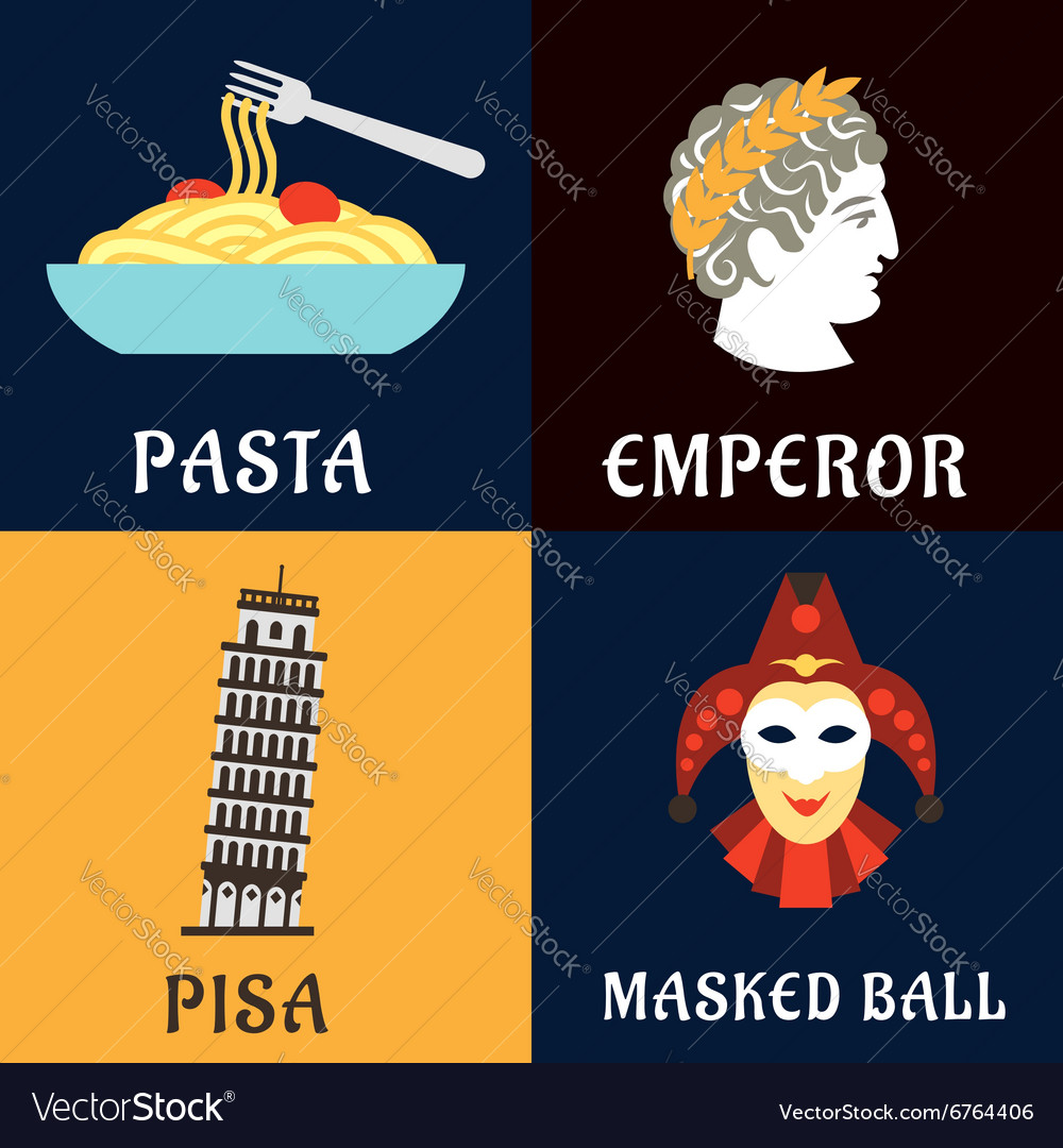 Italian culture history and cuisine flat icons vector