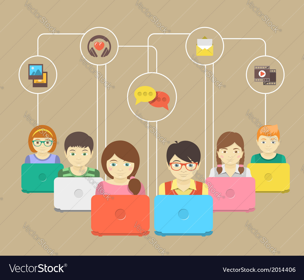 Kids and social networking vector