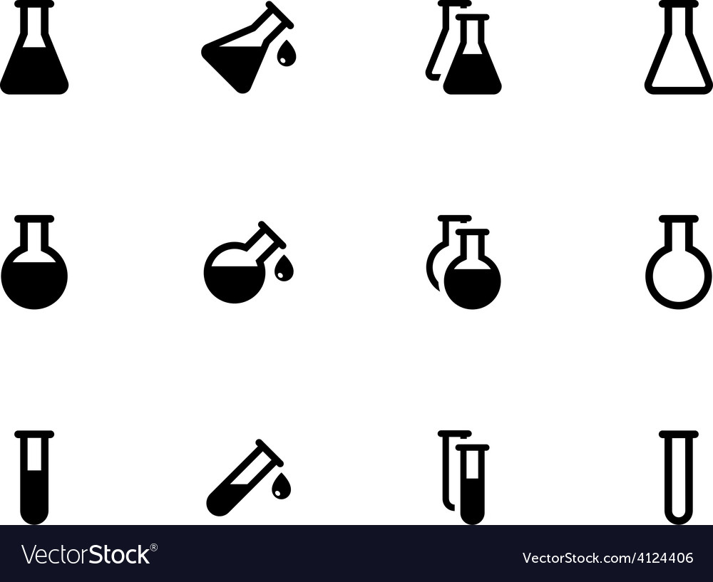 Lab flask icons on white background vector