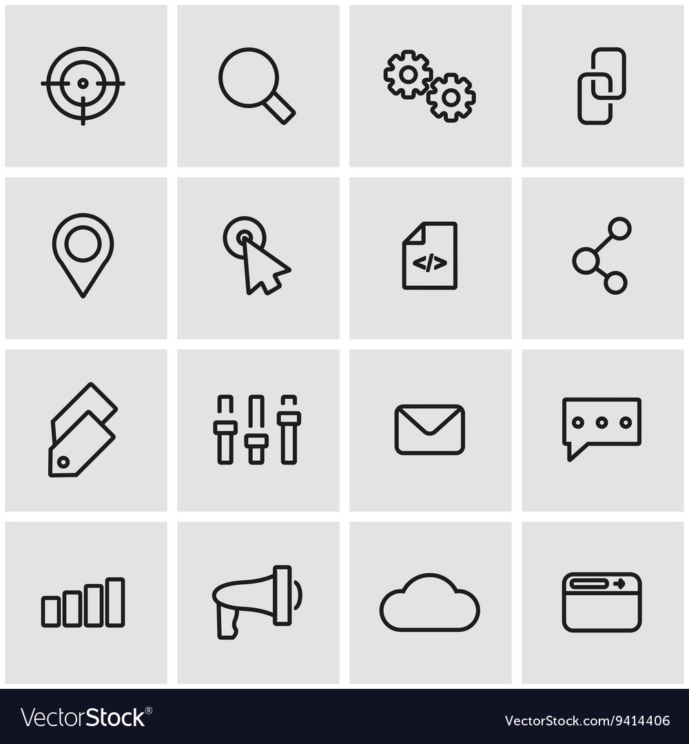 Line seo icon set vector
