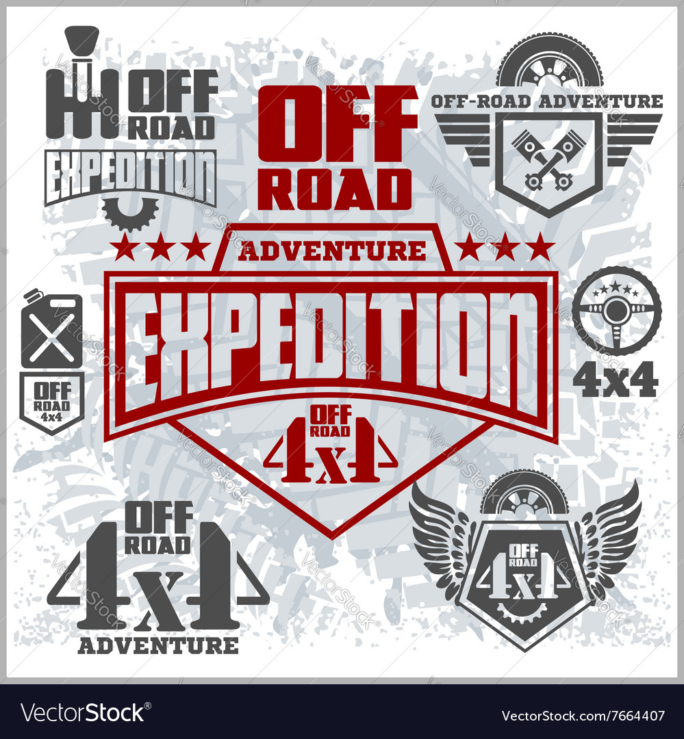 Offroad suv car emblems badges and icons off vector